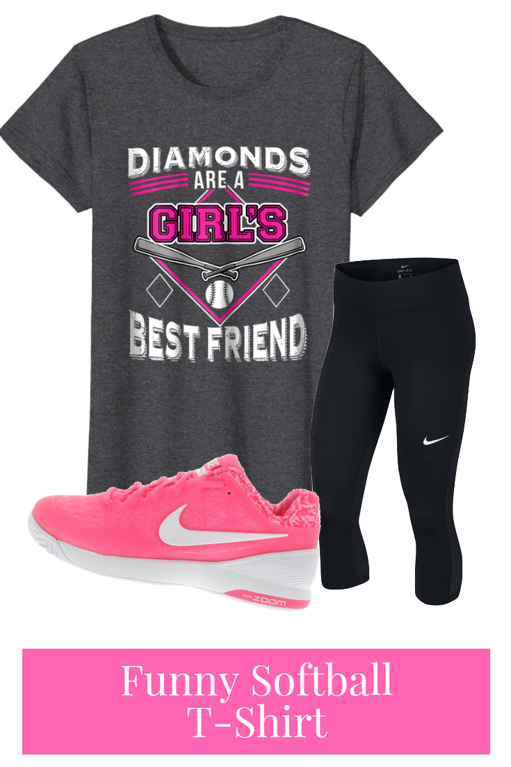 ad8fd0ae This funny women's softball t-shirt says DIAMONDS ARE A GIRL'S BEST FRIEND.  Perfect for girl's softball players, and softball moms!