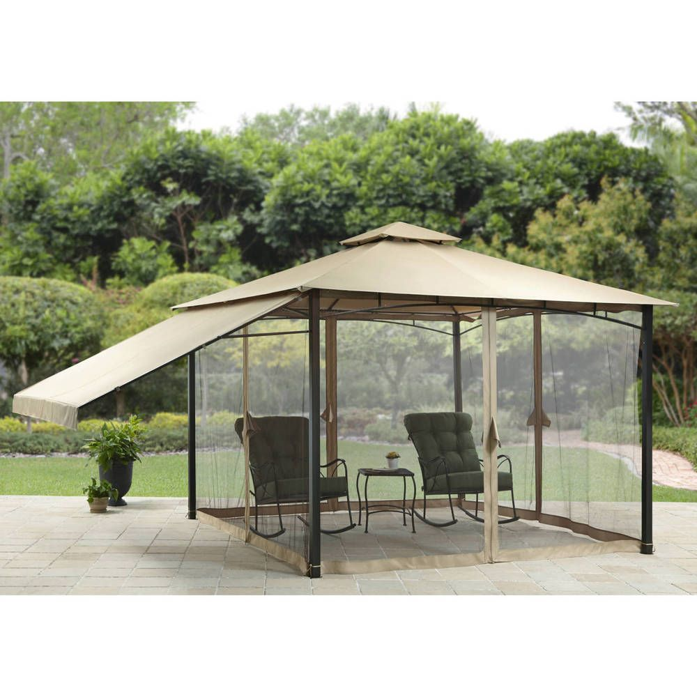 Patio Gazebo With Adjustable Side Sunshade Tent Garden 11u0027x 11u0027 Canopy  Furniture #PatioGazebowithAdjustableSide