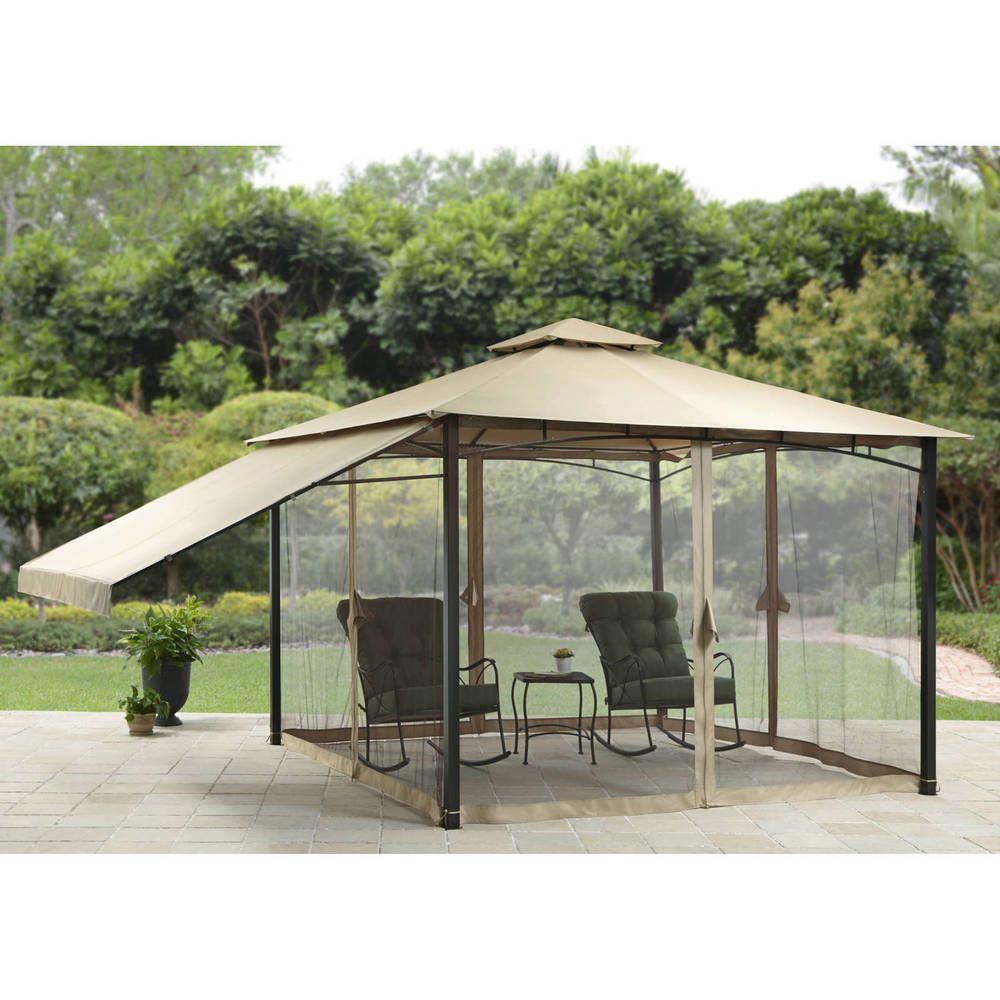 Patio Gazebo With Adjustable Side Sunshade Tent Garden 11u0027x 11u0027 Canopy  Furniture #