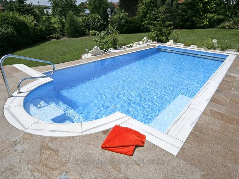 All in One Fertigteilbecken Sabine mit Römertreppe pool Pinterest - whirlpool im garten selber bauen