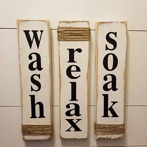 Photo of Wash Relax Soak – White- Farmhouse Decor – Rustic Bathroom Decor – Wooden Sign – Primitive Wooden Sign – Bathroom Wooden Sign – Farmhouse
