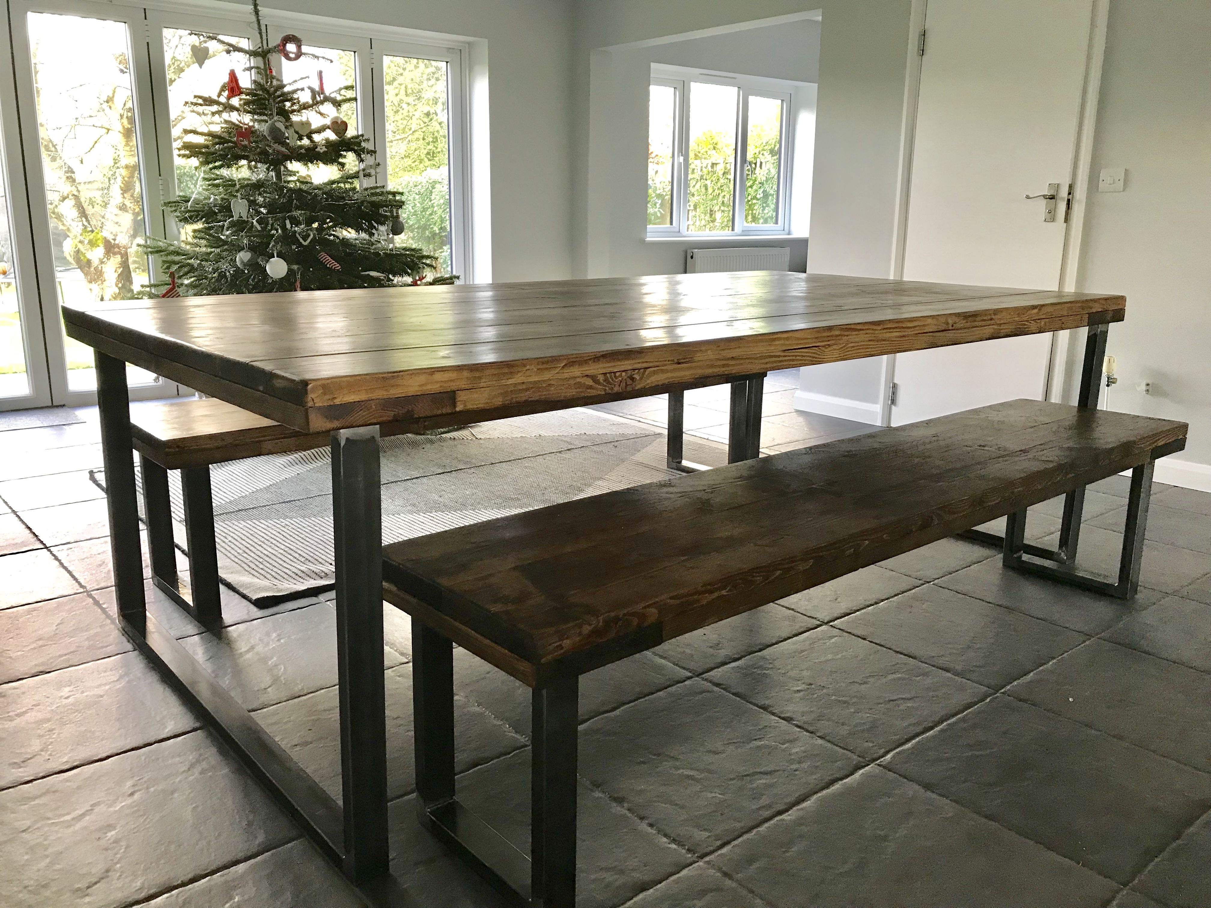 Dark Waxed Reclaimed Scaffold Dining Table And Two Benches Wood
