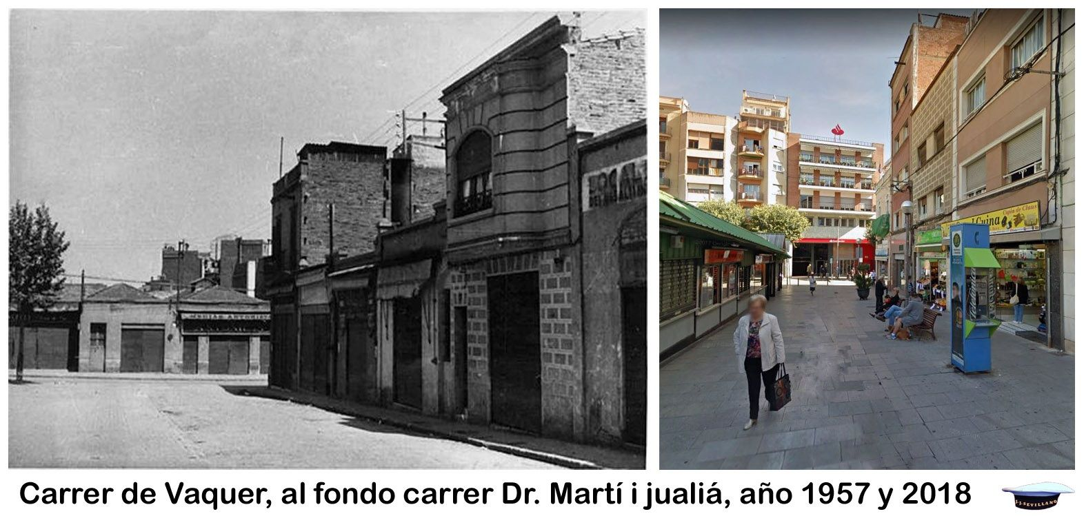 Carrer De Vaquer Al Fondo Carrer Dr Martí I Juliá Año 1957 Y 2018 Barcelona Marti Fondo