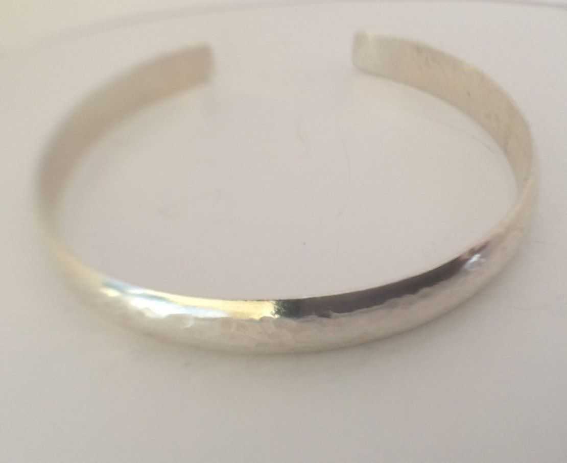 Sterling Silver Wide Bangle Beaten Silver Hammer Texture Jewelry Gift Adjustable…