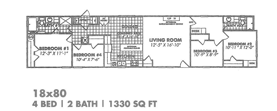 Floorplan Of The Four Queens A 4 Bed 2 Bath 1330 Sq Ft 18x80 Manufactured Home Featuring An Open Floor Plan Manufactured Home Double Wide Home Housing Options
