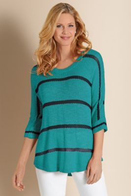 Venice Sweater I - Womens Navy Stripe Sweater, 3/4 Sleeve Rib Knit Sweater | Soft Surroundings $84.95   Pretty!