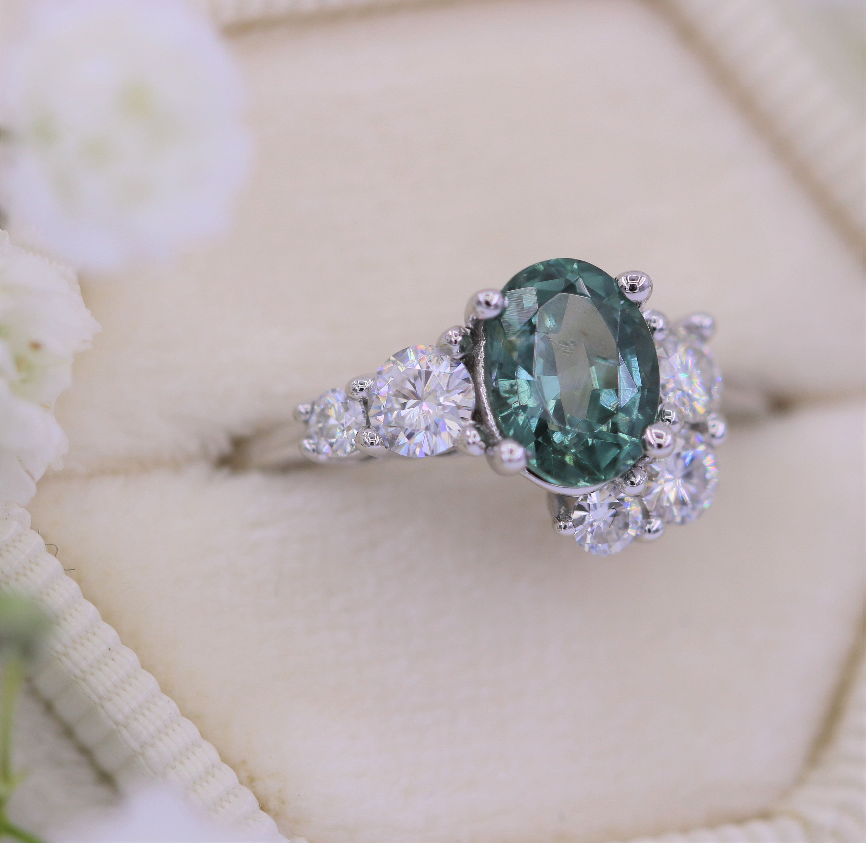 Teal Montana Sapphire Ring, Oval Unheated Sapphire