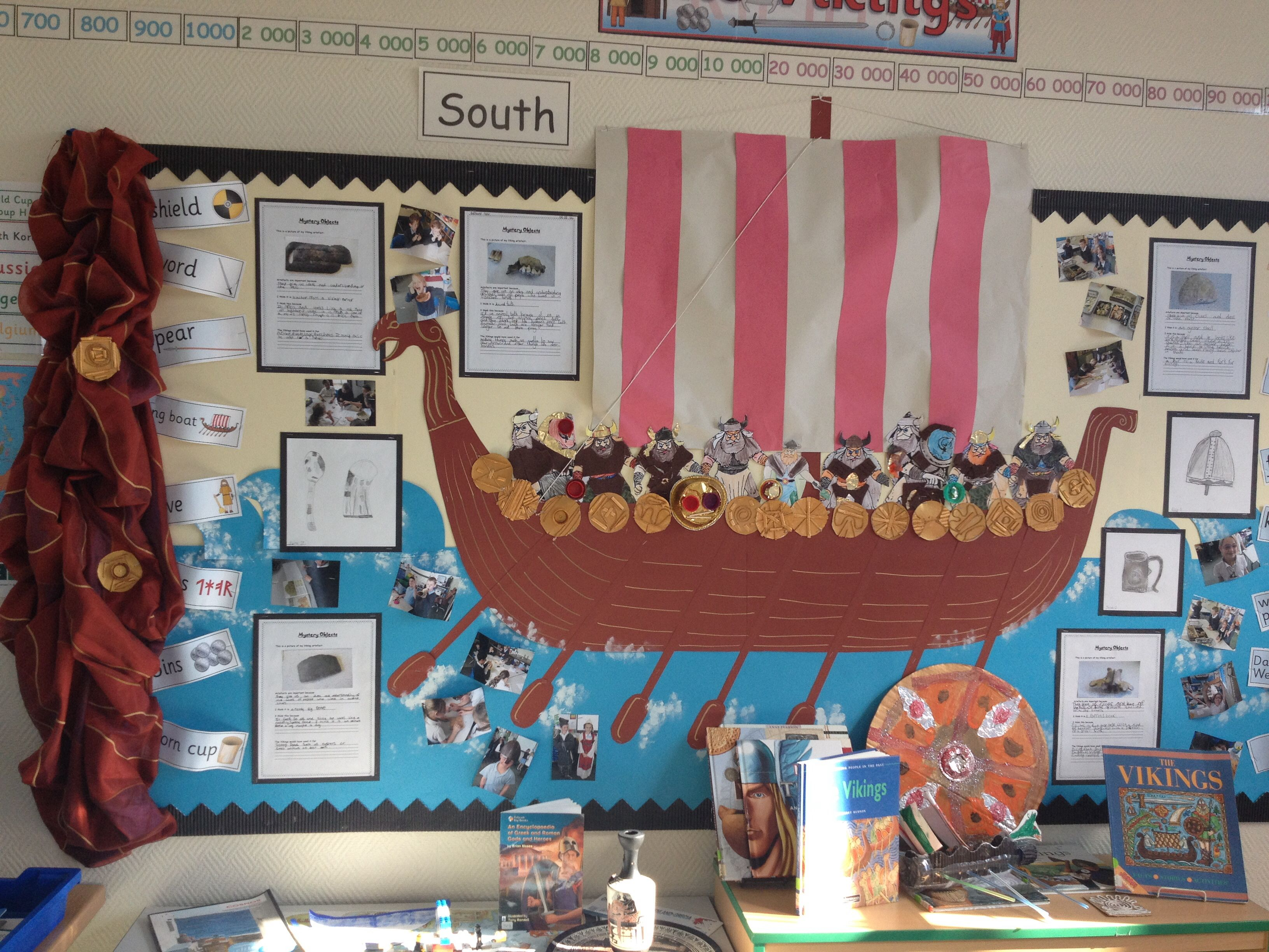 Vikings Display Year 4 Sketches Artefacts And Collage