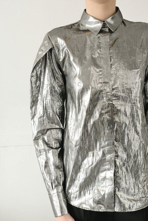 5baacbcfc46f1b SALE, Silver Womens Shirt, Avant Garde Top, Plus Size Clothing, Futuristic  Clothing, Sci Fi Clothing