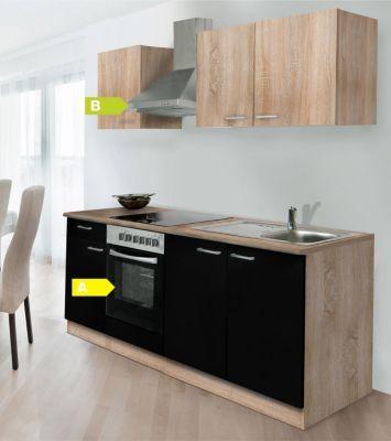 Respekta Küchenzeile KB210ESSCOES 210 cm Schwarz-Eiche Sägerau - küchenzeile 240 cm mit geräten