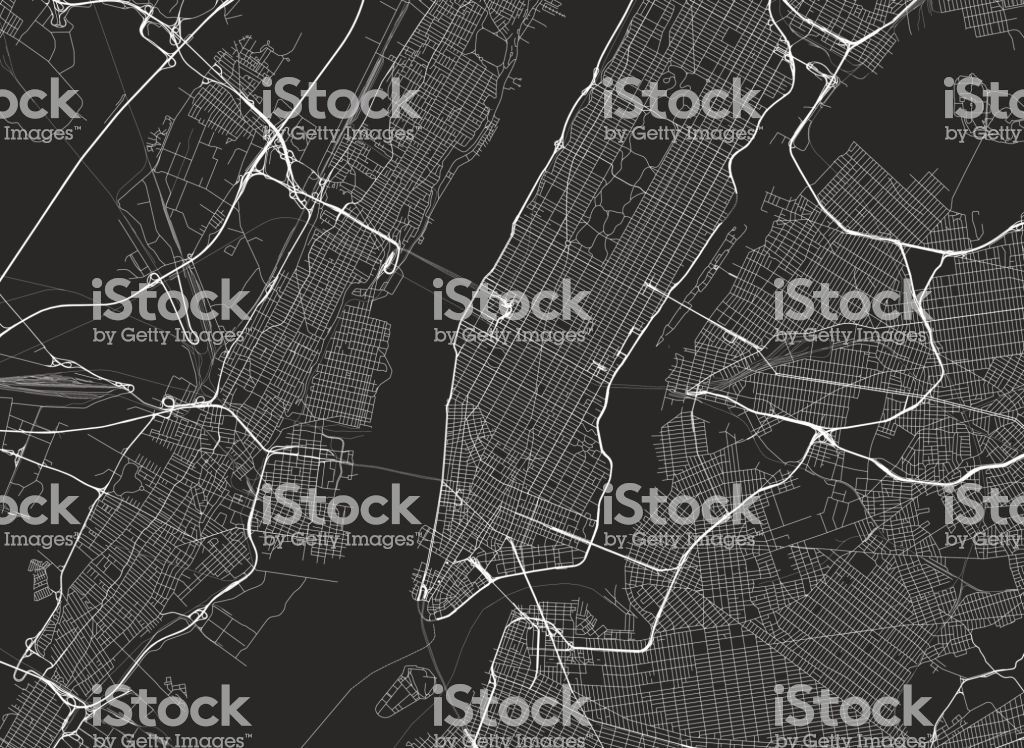 Vector Background With All Streets Of New York And Surroundings Map New York Grafik Grafiken