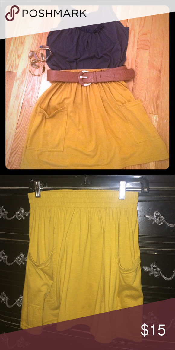 American Apparel High Waisted Gold Skirt American Apparel high waisted gold / burnt yellow skirt American Apparel Skirts Mini