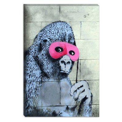 Gorilla Mask Pink Ape Monkey by Banksy Canvas Print