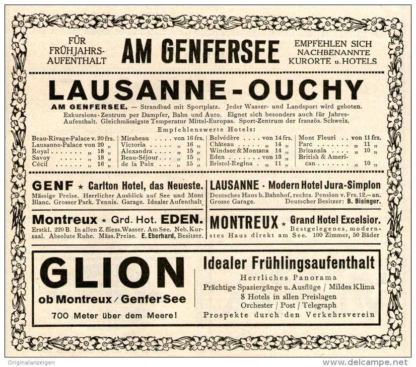 Original-Werbung/ Anzeige 1928 - AM GENFERSEE / LAUSANNE / GLION  -  ca. 140 x 110 mm