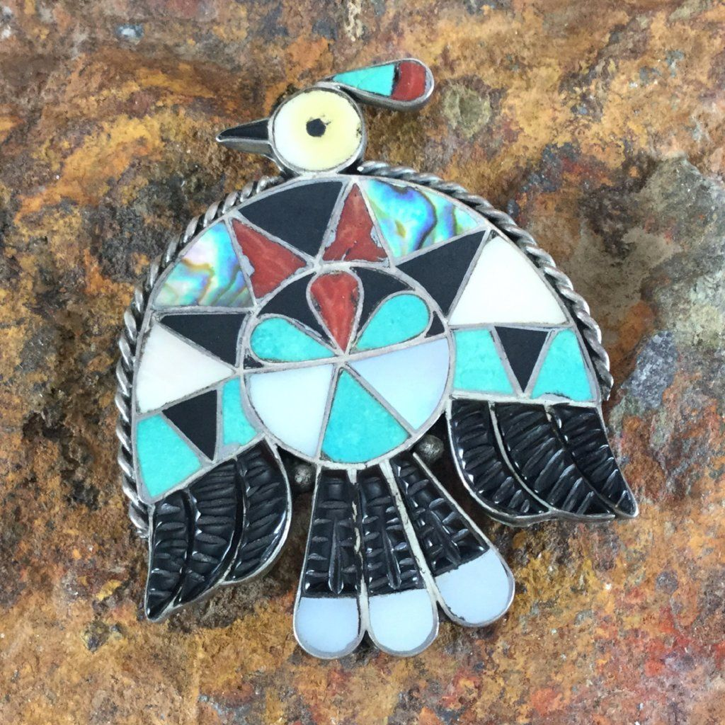 Vintage Zuni Silver Inlay Thunderbird Pin Estate Jewelry Ope175 Arrow Jewelry Leaf Jewelry Wholesale Silver Jewelry
