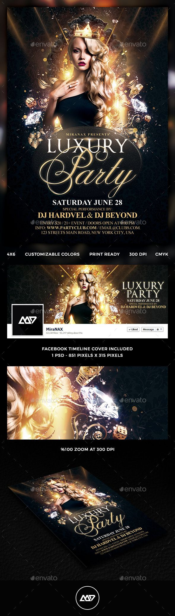Luxury Flyer  Party Flyer Flyer Template And Font Logo