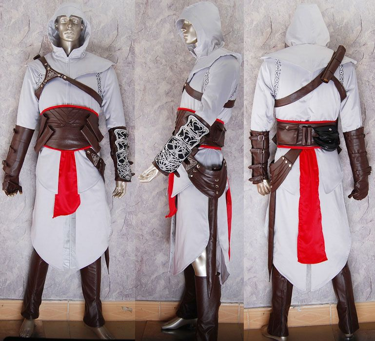 Assassins Creed Cosplay Altair Costume Jacket Hoodie Halloween