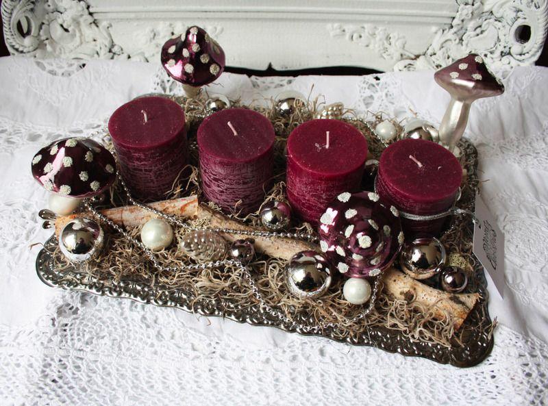 adventskranz tablett pilz violett von ilonetta auf. Black Bedroom Furniture Sets. Home Design Ideas