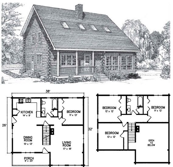 The Kineo Is A 4 Bed 2 Bath 2 Levels Log Home That Is 1800 Square Feet Space And Light Are The Most Striki Cabin House Plans House Plans Log Cabin Floor Plans