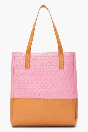 MCQ ALEXANDER MCQUEEN Pink & Tan Q Embossed Leather Tote