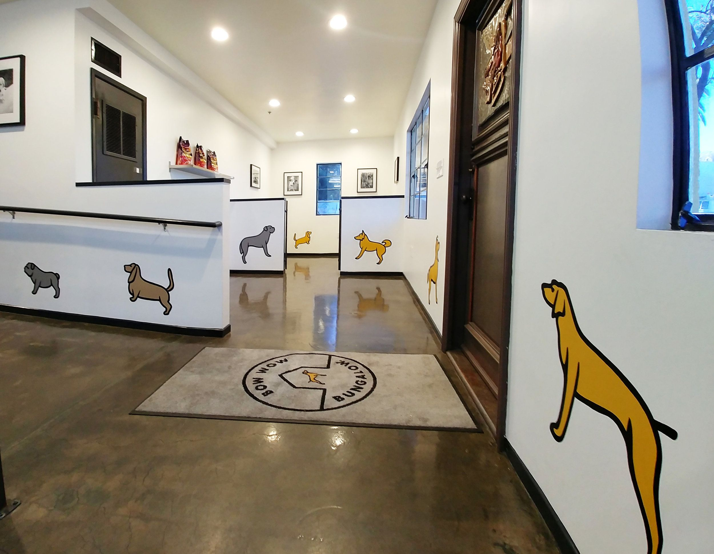 Hand Painted Mural Of Pups Done For Bow Wow Bungalow In Burbank Ca By L Star Murals Www Lstarmurals