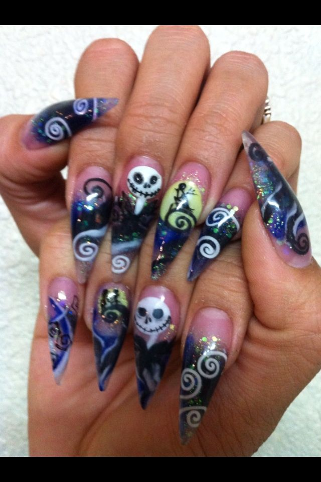 Nightmare before Christmas, Stiletto Nails by Terry... | Halloween ...