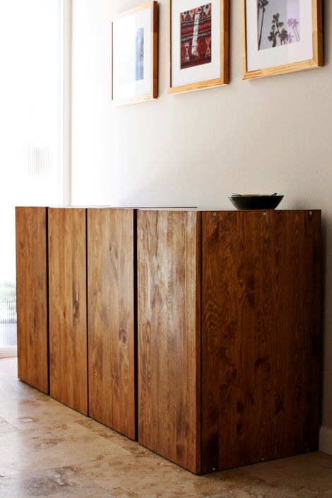 Love these stained pine ikea ivar cabinets very classy for Pine sideboard ikea