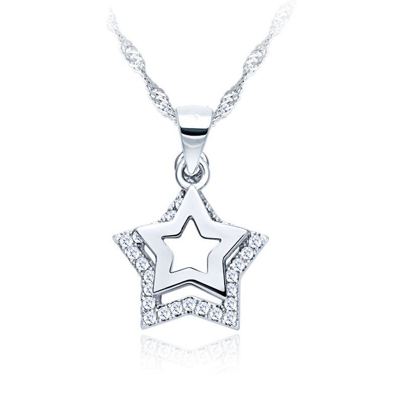 Famous Brand 925 Silver Hollow Double Stars Fashion Simple Cute Pendant Party Dinner Bohemian Chain N Sterling Silver Necklace Pendants Pendant Necklace Silver