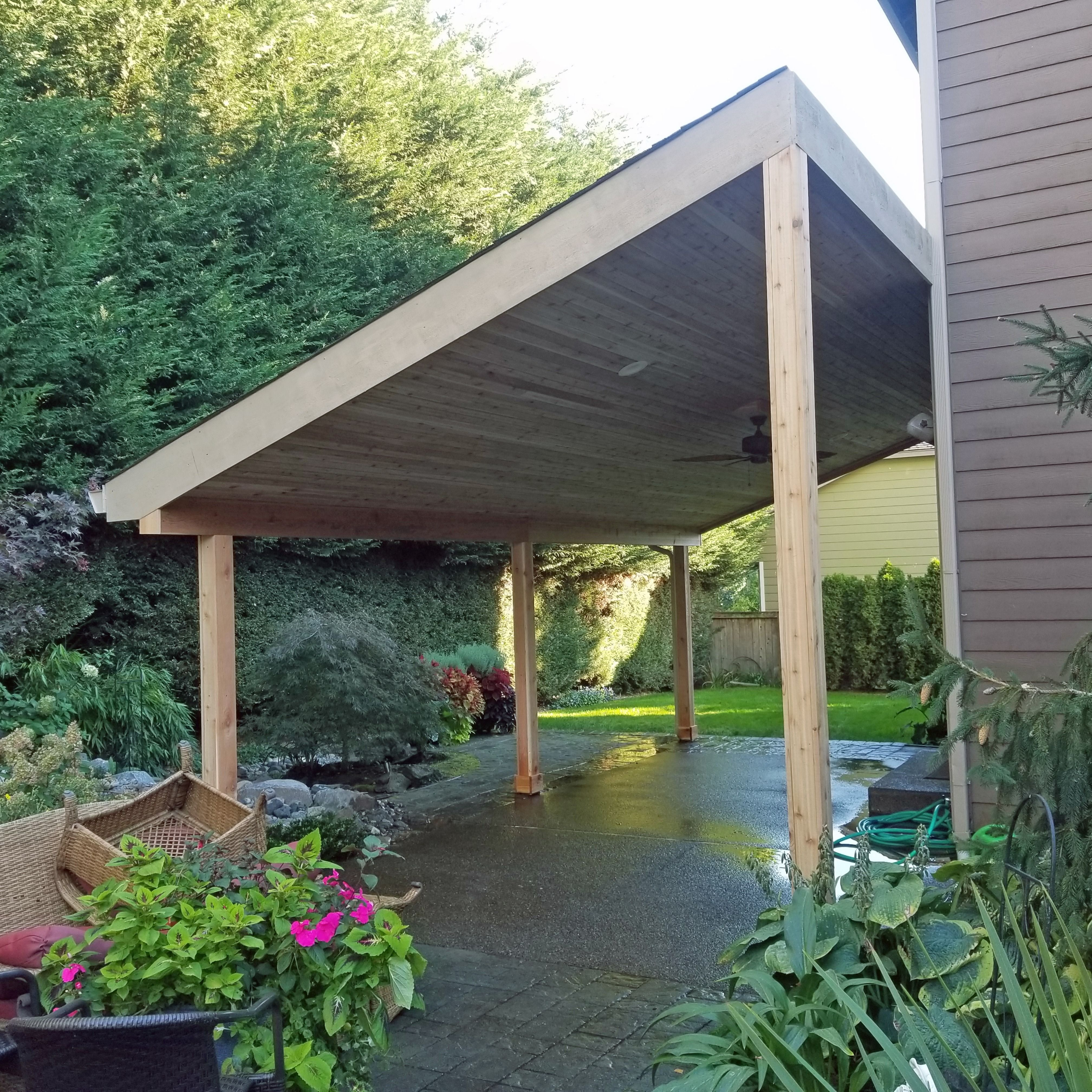 This Patio Cover Was Built To Include Ceiling Fans And Outdoor