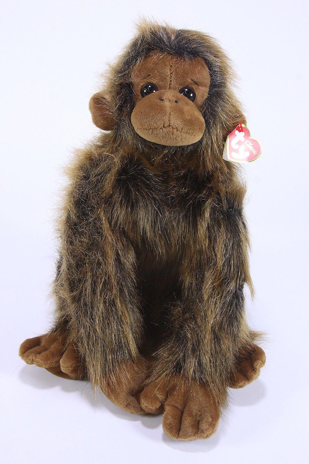 """JAKE Plush Monkey TY Classic Beanie Baby Buddy Ape Orangutan 13"""" W/ Ear Tag 1999"""