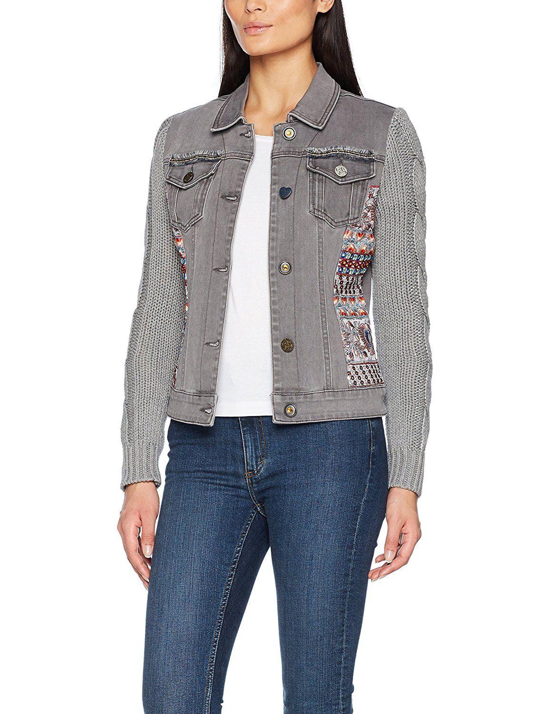 Graue Jeansjacke für Damen. Mit Trikotärmeln und bunten