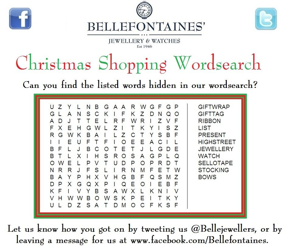 This weeku0027s teaser is our #Christmas Shopping #Wordsearch! Weu0027ve - contact list