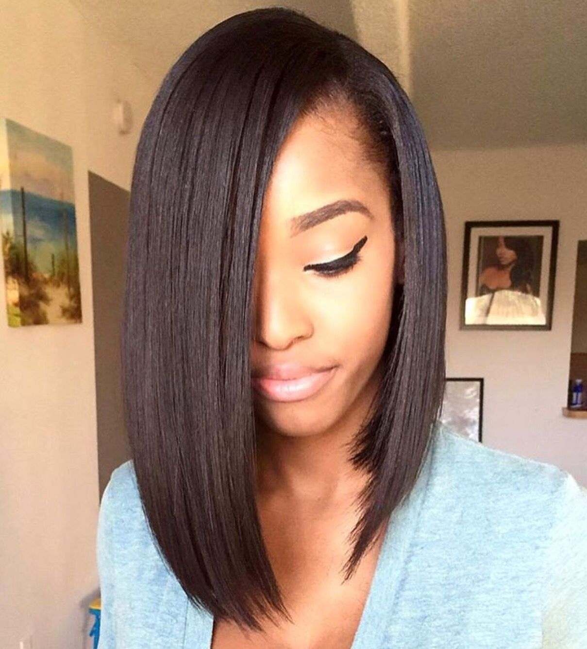 Bob Wigs Human Hair Middle Part Brazilian Full Lace Wig 100 Percent