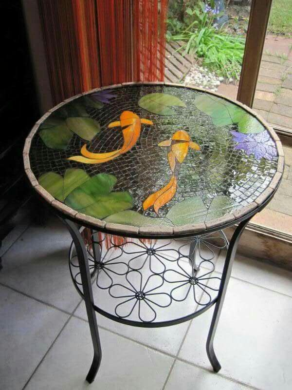 Koi mosaic stained glass pinterest koi mosaics and for Koi fish pool table