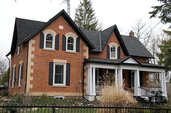 Orange Brick Historic House At Historical Hamilton W Black Shutters And White Trim