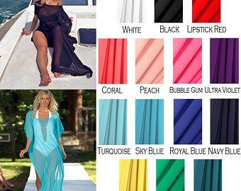 1695f74a8dfa2 Custom Length Beach Cover Up - Kaftan - Swimsuit Coverup - Chiffon Dress -  Kimono -