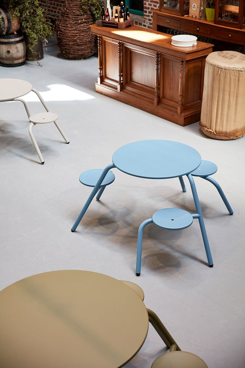 Extremis virus picnic tables mix and match colourful tables design furniture museum public project