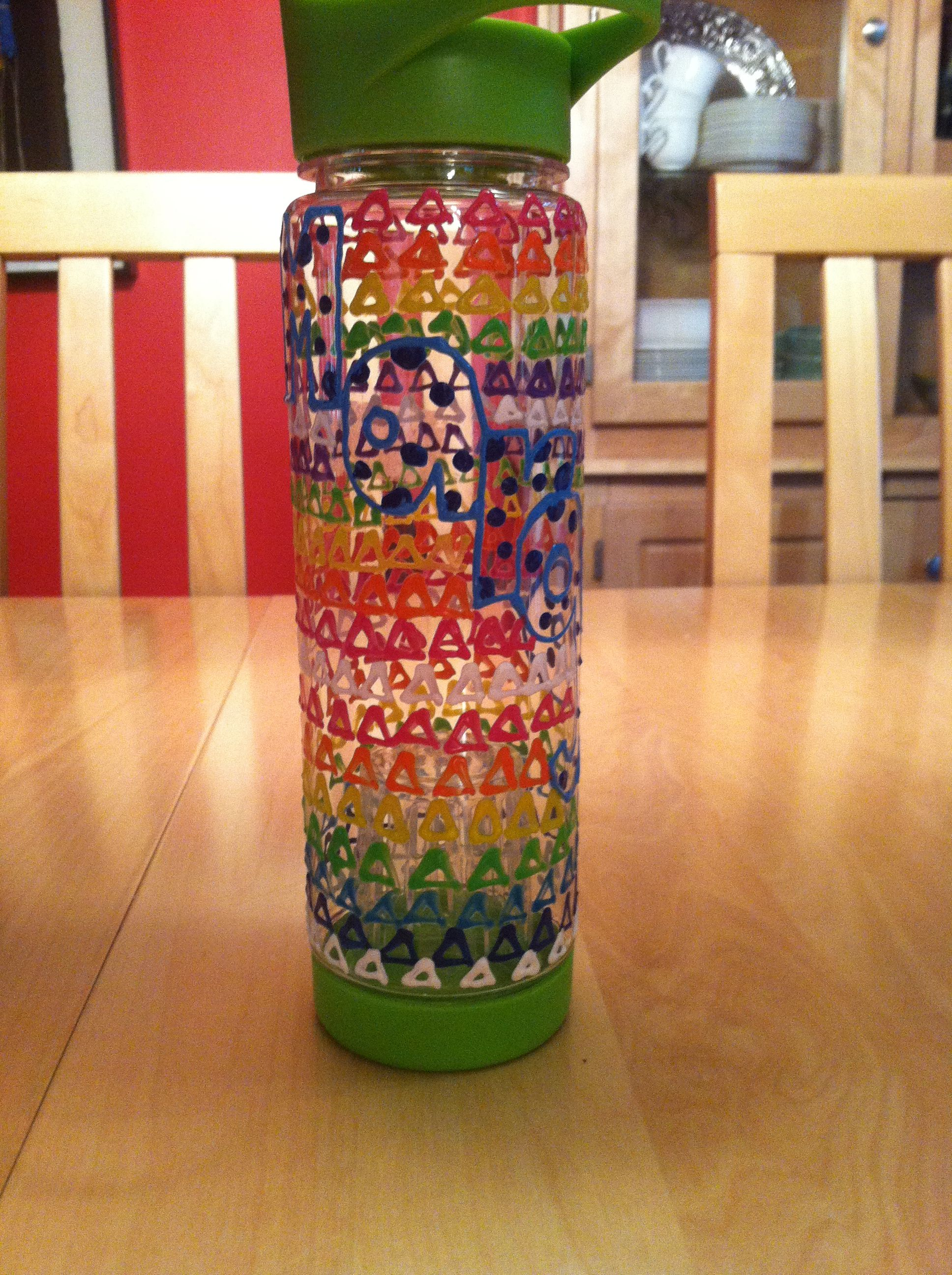 Decorated Water Bottles Puffy Paint Water Bottles Spring Craft Decorate