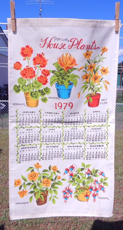 Vintage Linen Kitchen Graphic Dish Towel 1979 House Plants