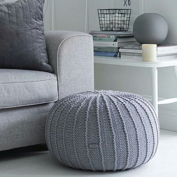 Large Pouf Ottoman Endearing Large Grey Floor Pouf Ottoman  Knitted Pouf  Knit Pouf  Knitted Decorating Inspiration