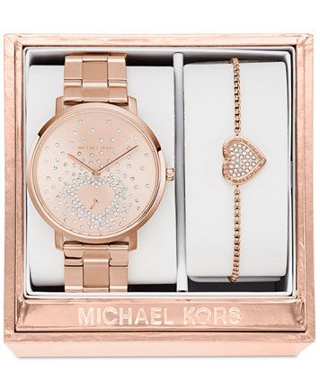 e912e1445290 Michael Kors Women s Jaryn Rose Gold-Tone Stainless Steel Bracelet Watch  and Bracelet Box Set 38mm MK3621