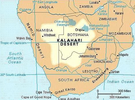 south africa map kalahari
