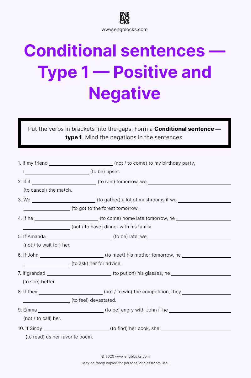 Worksheet On Conditional Sentence Type 1 Positive And Negative Of Sentences How To Put Paraphrase In A