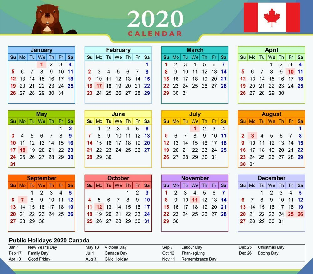 2020 Calendar Canada with Public Holidays