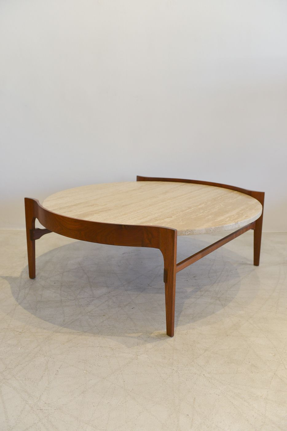 Sculpted Walnut And Travertine Coffee Table By Gordonu0027s Fine Furniture Made  In The 50u0027s Measures 40.25