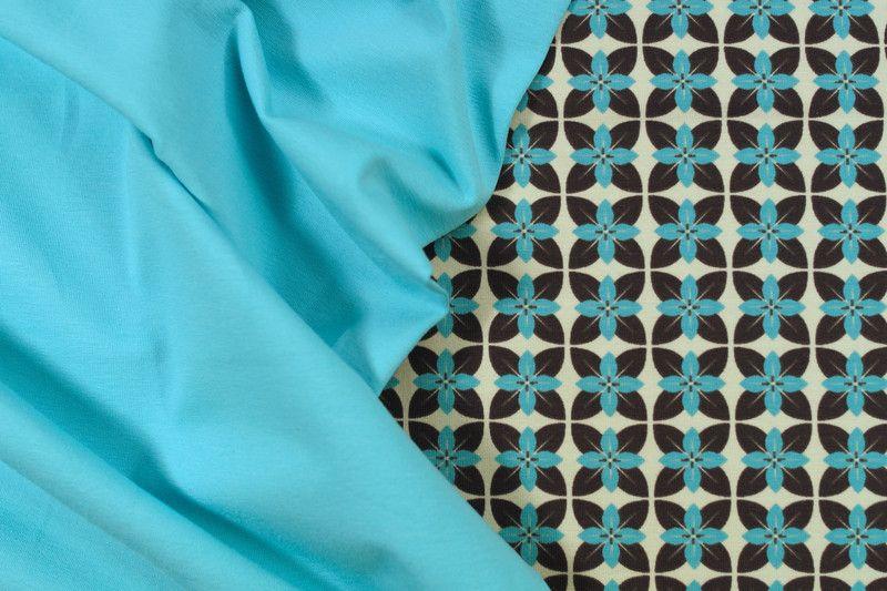 Stoffpakete - 505 Stoffpaket Jersey Retro Türkis Taupe Beige - ein Designerstück von my-kati bei DaWanda
