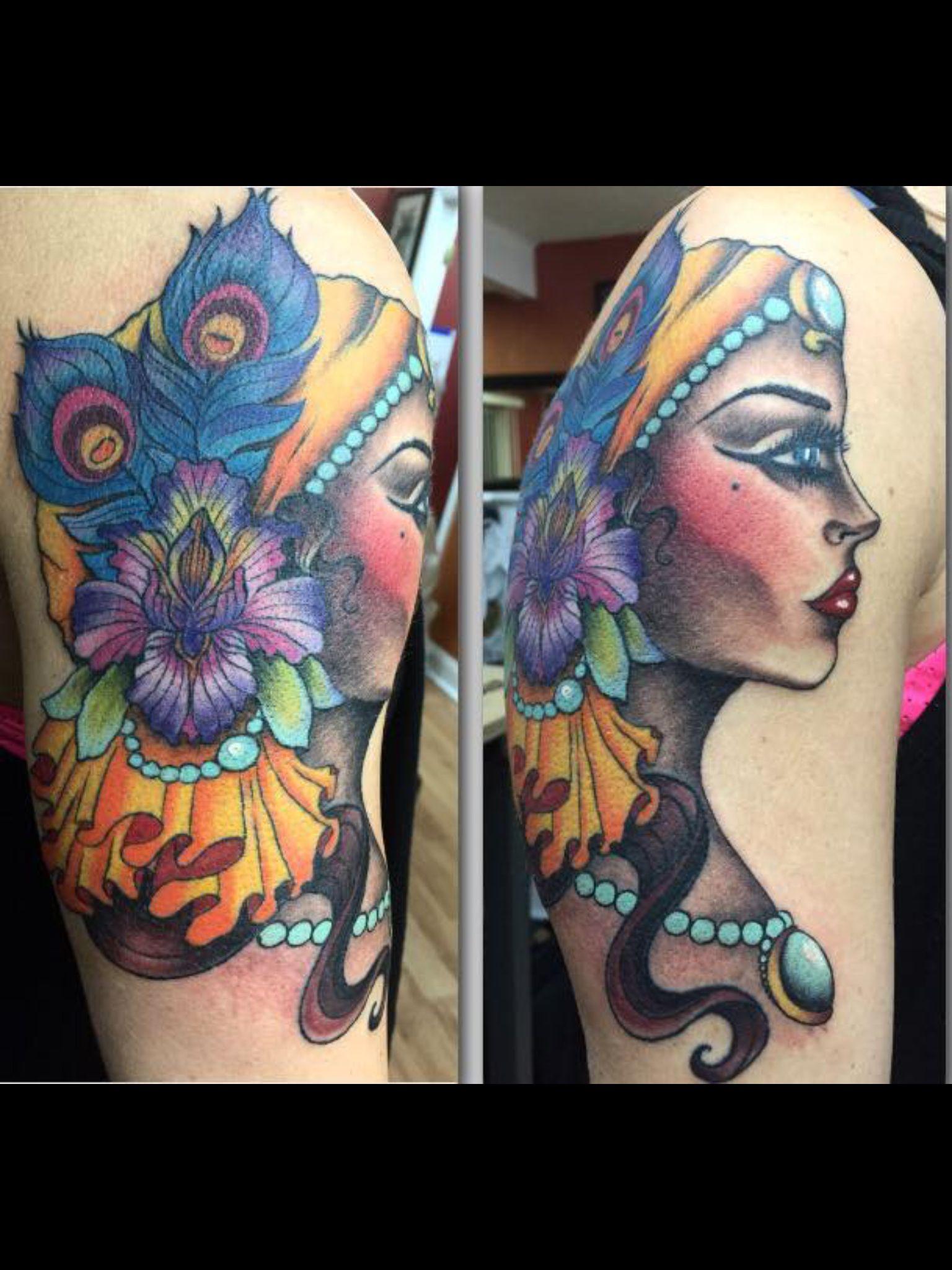 Pretty gypsy tattoo by Audrey Mello