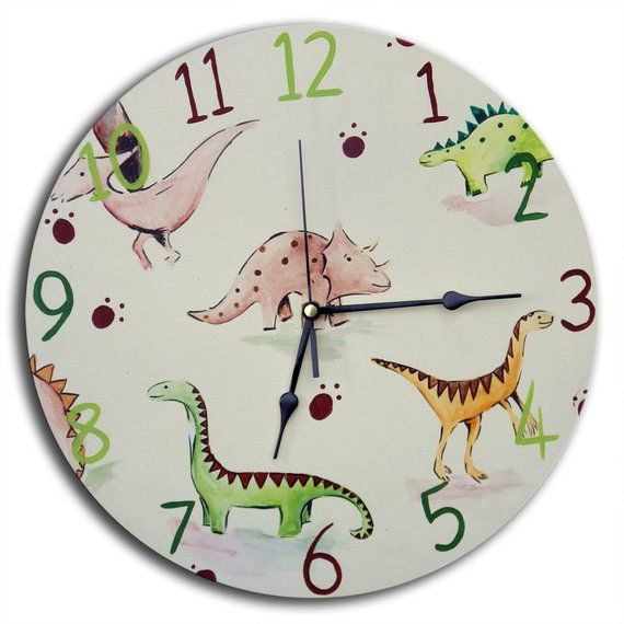 Kids Dinosaur Clock Nursery Decor Boys Gift