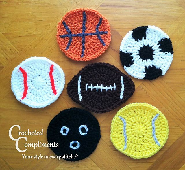Sports Ball Coasters pattern by Crocheted Compliments | Topflappen ...