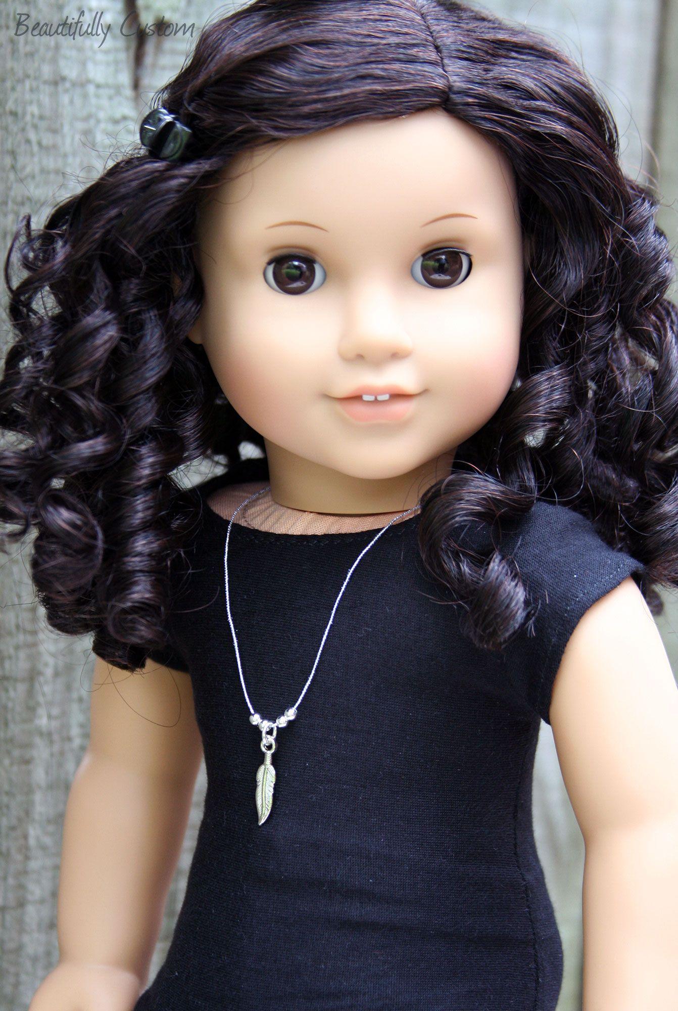 Custom american girl doll brown eyes and short curly
